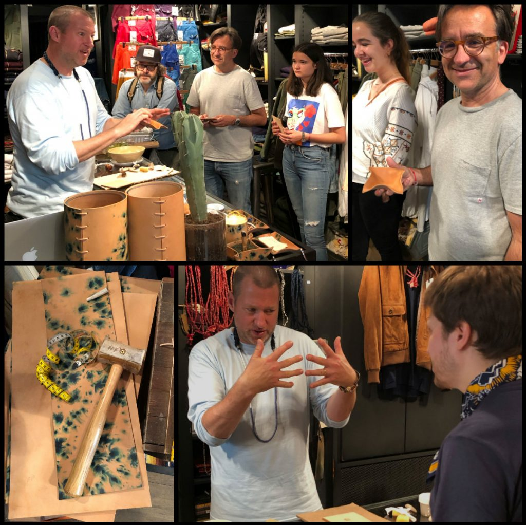 Peter Maxwell from Made Solid works with leather and customers of Jinii shop