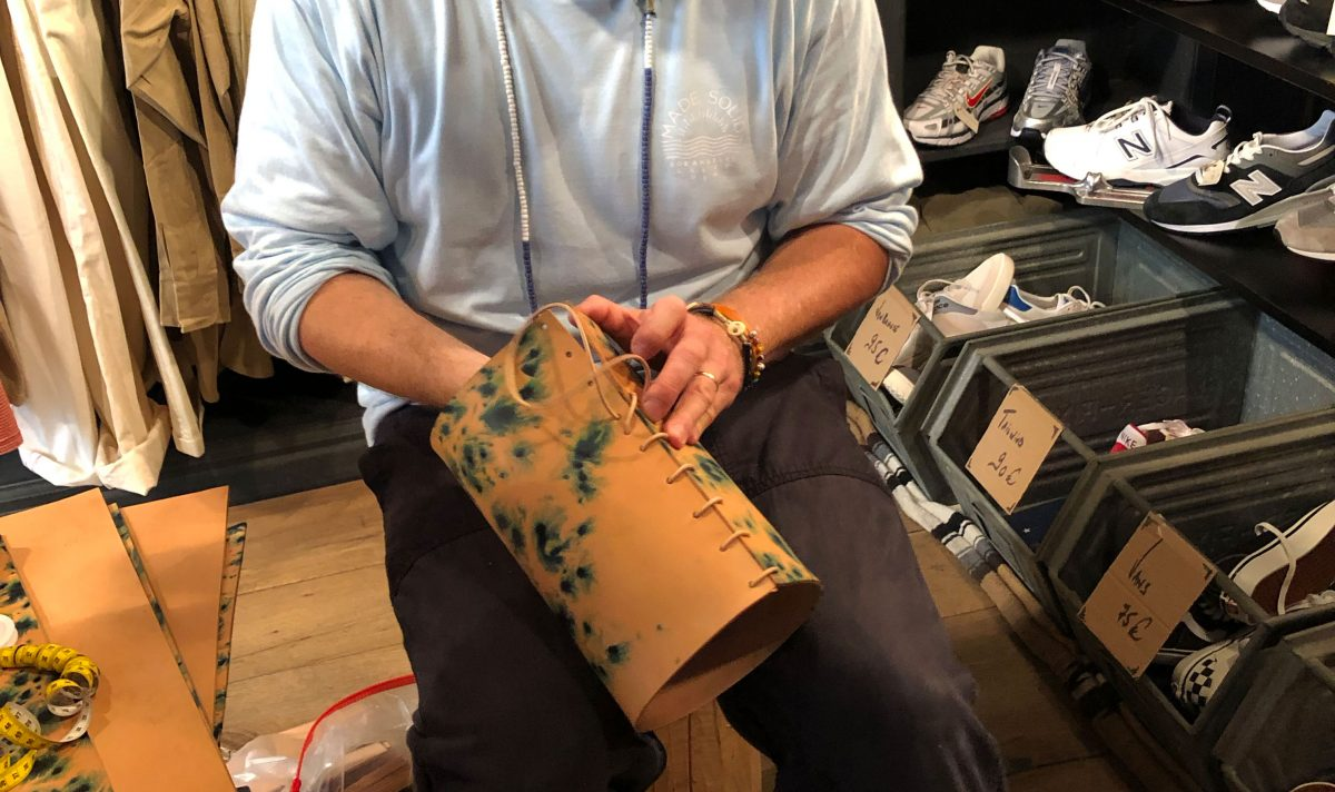 Peter Maxwell from Made Solid works with leather