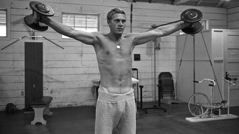 steve mcqueen with sweatpants